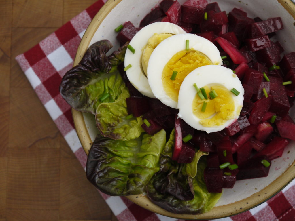 Bowl with beetroot and celery salad